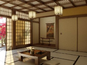 3D models of Japanese cherry blossoms in the drawing room