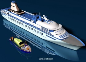 [3D] transport cruise fishing boats the maritime sea level MAX source file