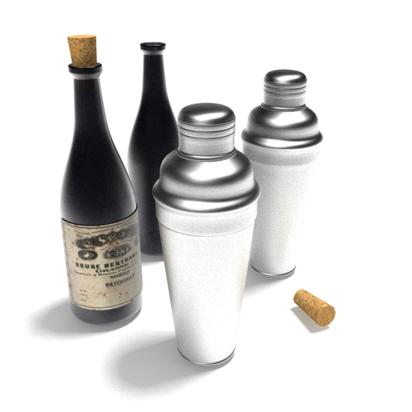 A variety 3D wine related items  3