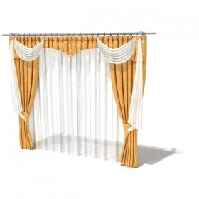Boutique curtains 3D model 05 (with material)