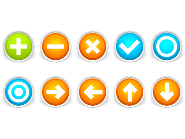 Bright circular button icons png