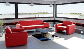 Bright the sense red sofa will living room the scenes 3D model