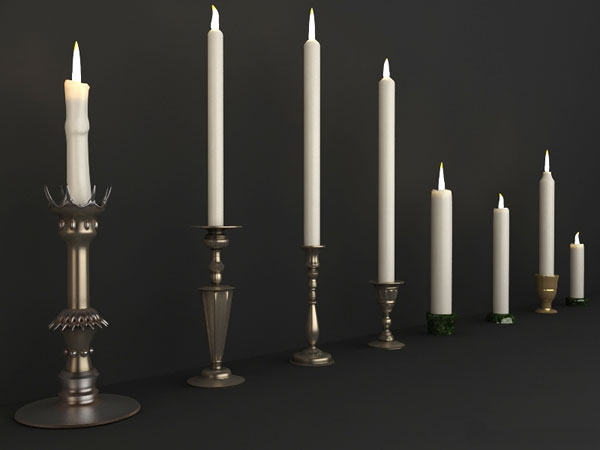 Candles and candle holders 3d material