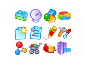 Cartoon style web design commonly used icons png