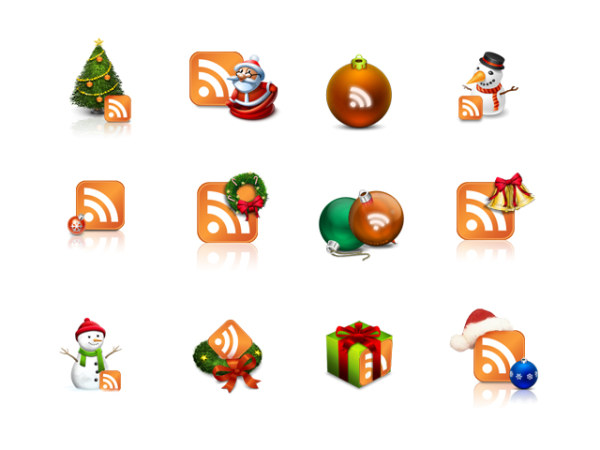 Christmas theme rss Subscribe icon png