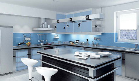 Cool colors kitchen 3D model