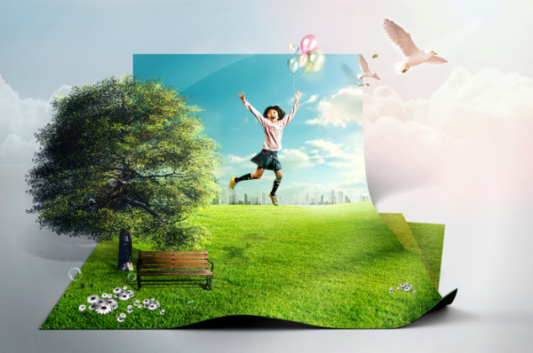 Creative green living picture template design layered material  1