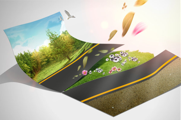 Creative green living picture template design layered material  3