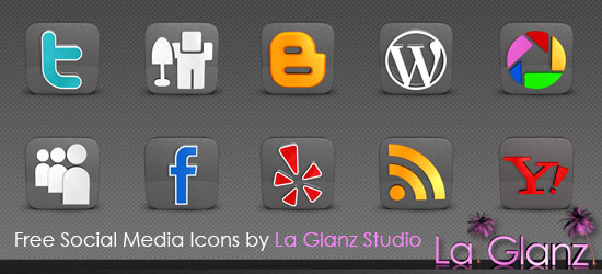 Famous WEB2.0 and SNS sites LOGO (gray texture rounded icon, a variety of sizes)