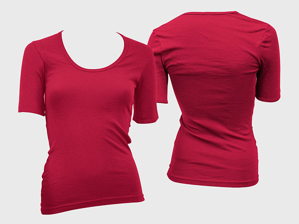 Front of the blank trend of female models short sleeved t shirt template (GoMedia produced) psd layered material  6