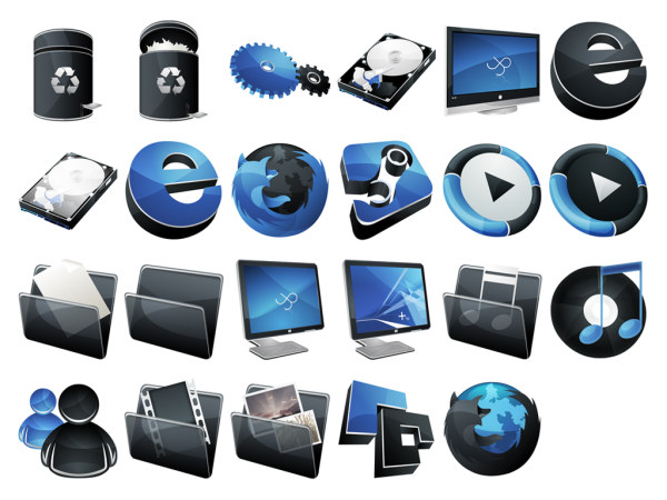 Full Version blue black the vista style of HP icon png