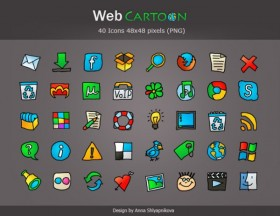 Graffiti style commonly used web icons 40 models (Web Cartoon)