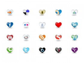 Heart shaped foreign famous web2.0 website logo icon png