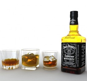 Jack Daniel wine and glasses of ice 3D material