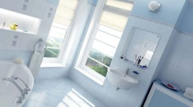 Modern indoor bathroom scene combine 3D models