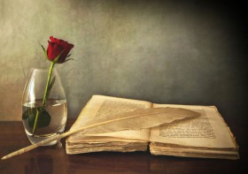 Old books and Roses 05   HD picture