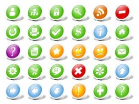 Round dimensional commonly used web icons png