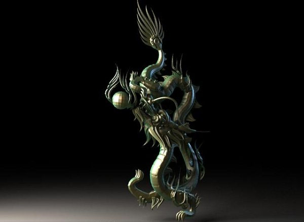 The classical bronze dragon 3D material