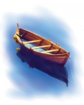 Watercolor boat psd layered material