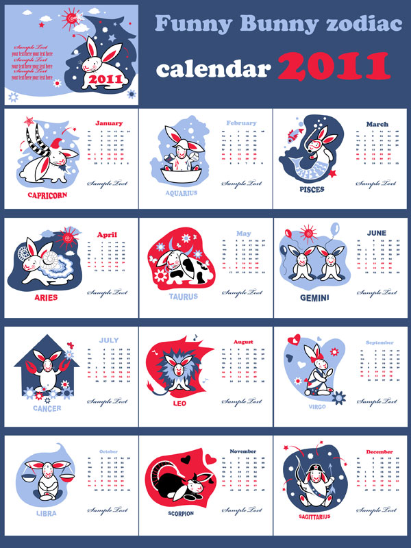 2011 Year of the Rabbit Cute calendar vector material