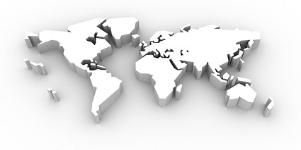 3d three dimensional map of the world Stock Photo