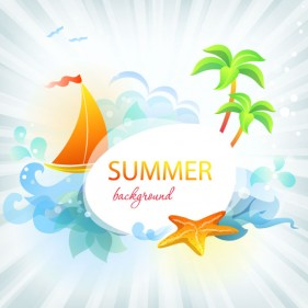 Beautiful summer card 03 vector material