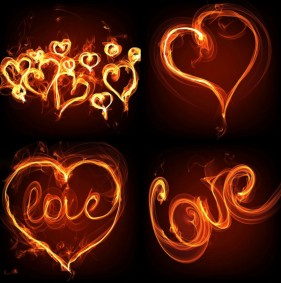 Flame effect romantic heart shaped HD picture