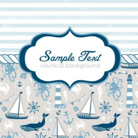 Hand painted nautical card 01 vector material