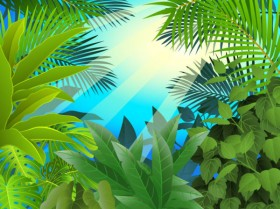 Leafy green theme background 05 vector material