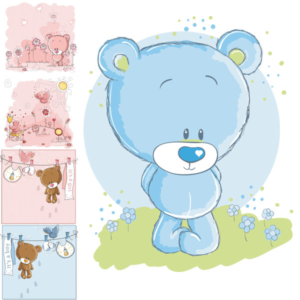 Vector material cute cartoon bear Vector