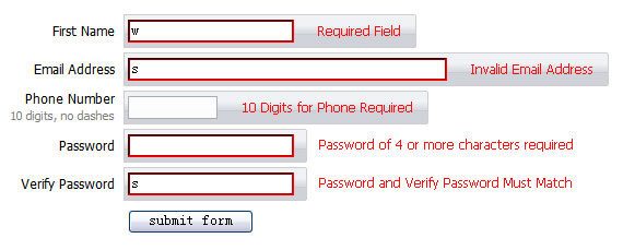 Js validation the form prompts effect (css jquery)