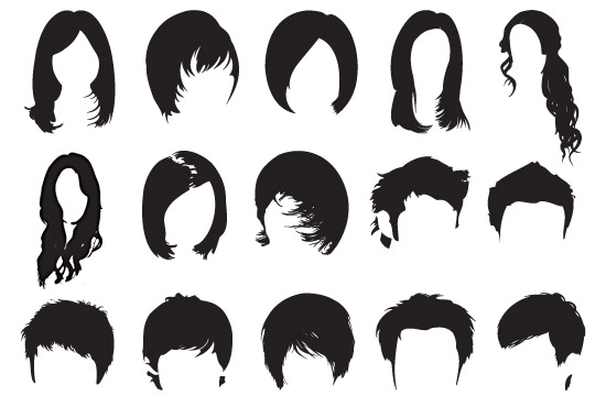 Male and female hair PhotoShop brushes