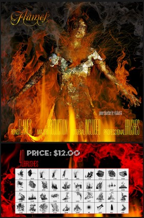 Rons Company produced high definition real flame flames PS brush