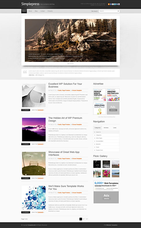 4 Designer Simple Personal Blog Css Xhtml Web Templates