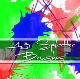 13 models of high definition watercolor paint splatter the PS brushes