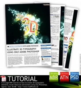 3D special effects production PS action including brushes PSD files PDF tutorial