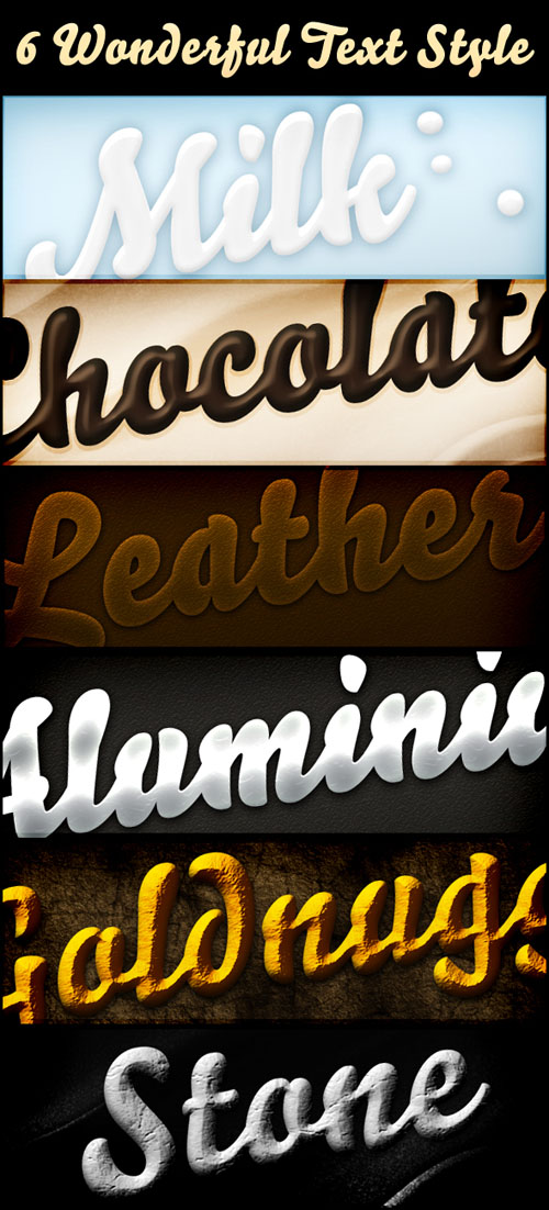 6 models beautiful effects of PS font style PSD format
