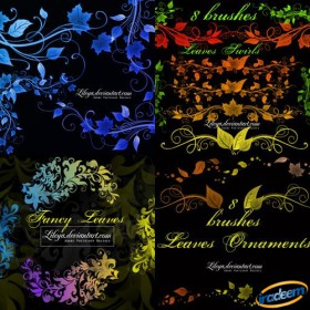 A beautiful decorative embellishment leaves PS Brushes