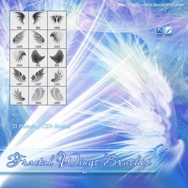 Beautiful high definition wings PS brushes