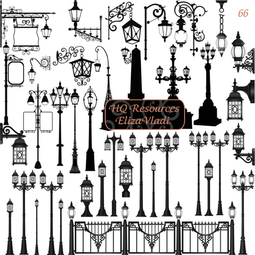 Clear European old street lamps PS brush