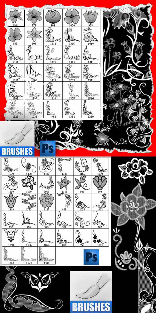 Clear and beautiful flowers pattern PS brush