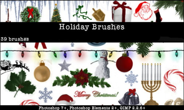 High Definition Christmas elements PS festive brushes