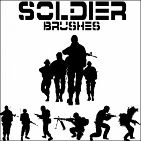 High Definition armed soldiers PS brushes