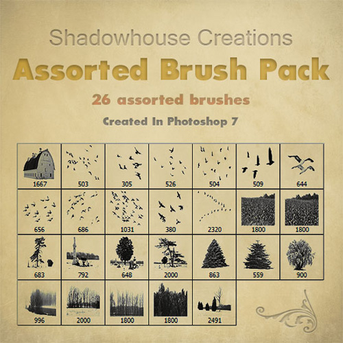 High Definition housing field trees and other assorted birds PS brushes