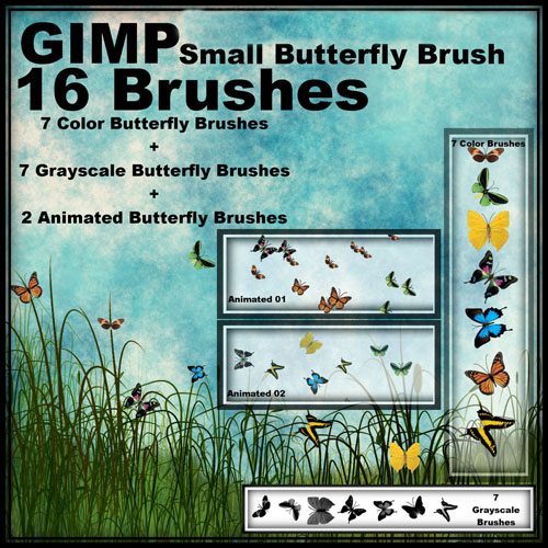 High definition the GIMP colorful butterfly brush with full instructions