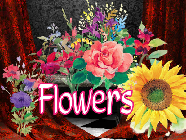 Ink style flowers PNG