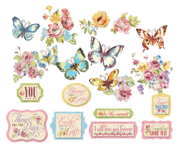 Pastoral flowers and butterflies PNG material