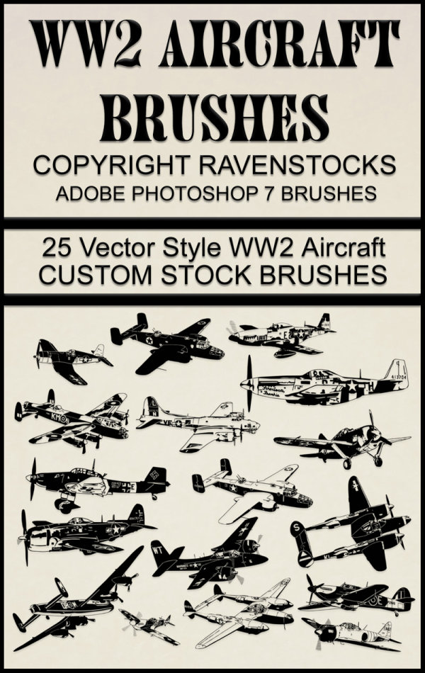WWII aircraft high definition PS brushes