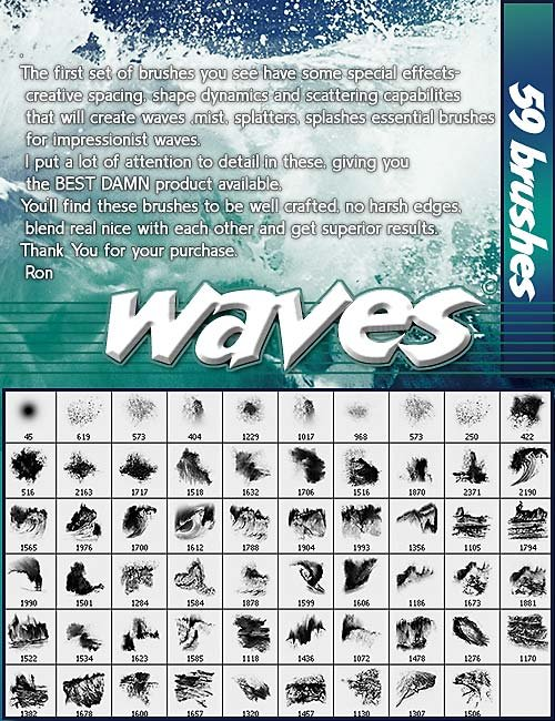 Rons The beautiful waves produced high definition PS brushes