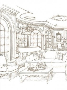 Hand painted indoor home vector material